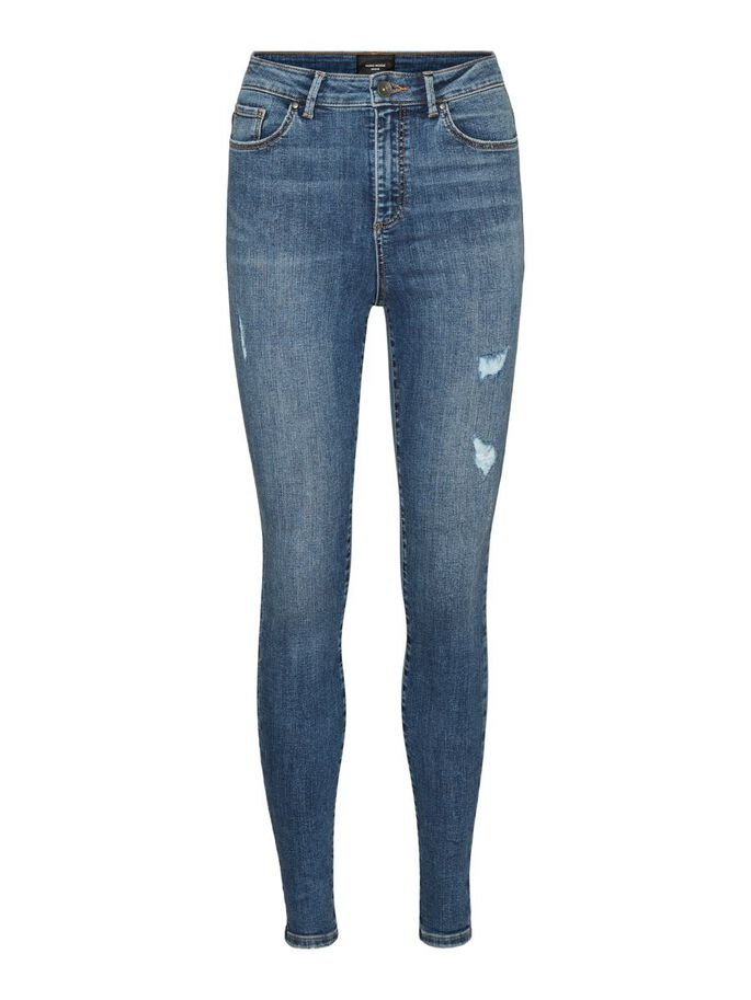 VMSOPHIA HIGH WAIST SKINNY FIT JEANS, Medium Blue Denim, large