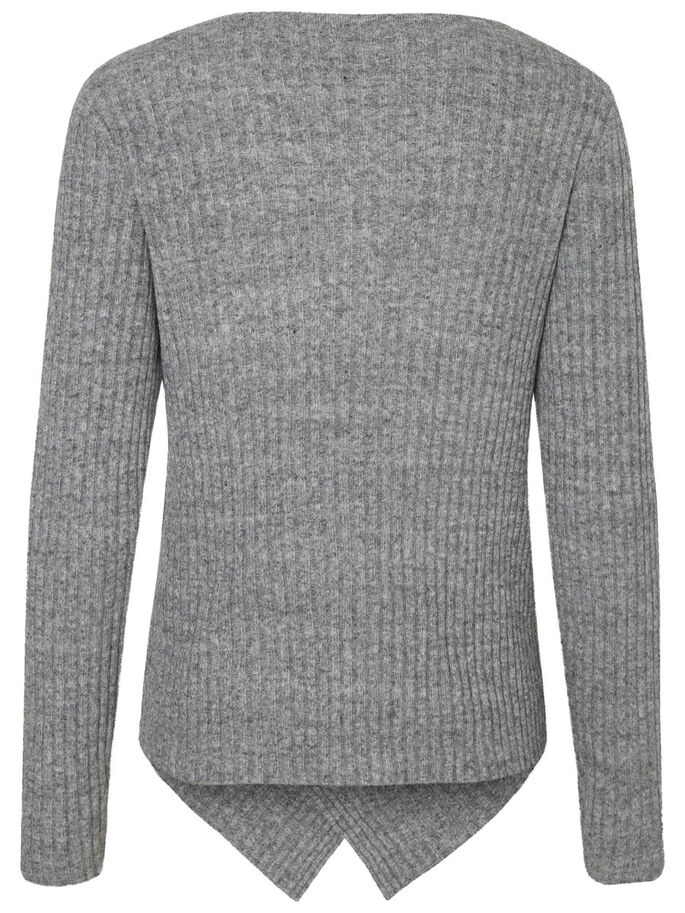 FEMININER STRICKPULLOVER, Light Grey Melange, large