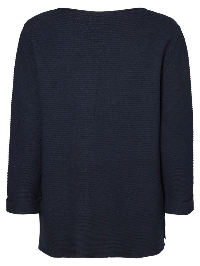 CASUAL KNITTED PULLOVER, Navy Blazer, large