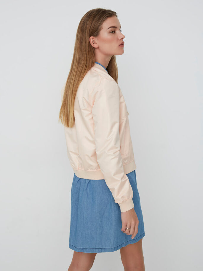 SHINY BOMBER JACKET, Pale Peach, large