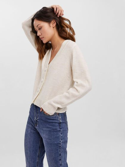 BUTTON V-NECK KNITTED PULLOVER