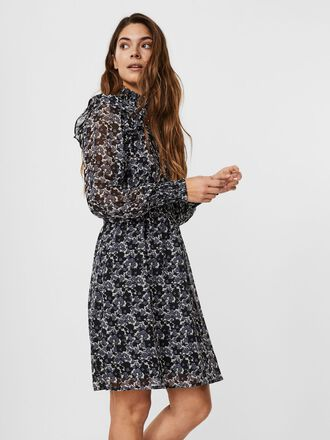 PRINTED FRILL MIDI DRESS