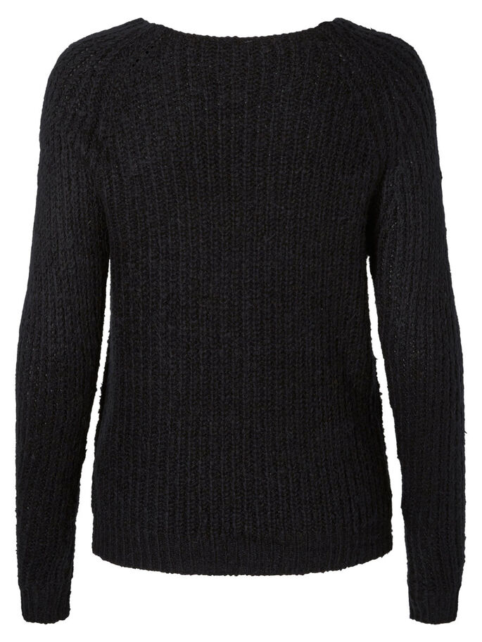 MANCHES LONGUES PULL EN MAILLE, Black, large