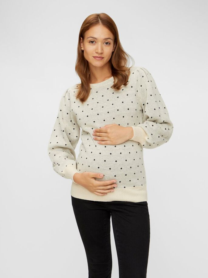 DOTTED KNIT MATERNITY PULLOVER, Parchment, large