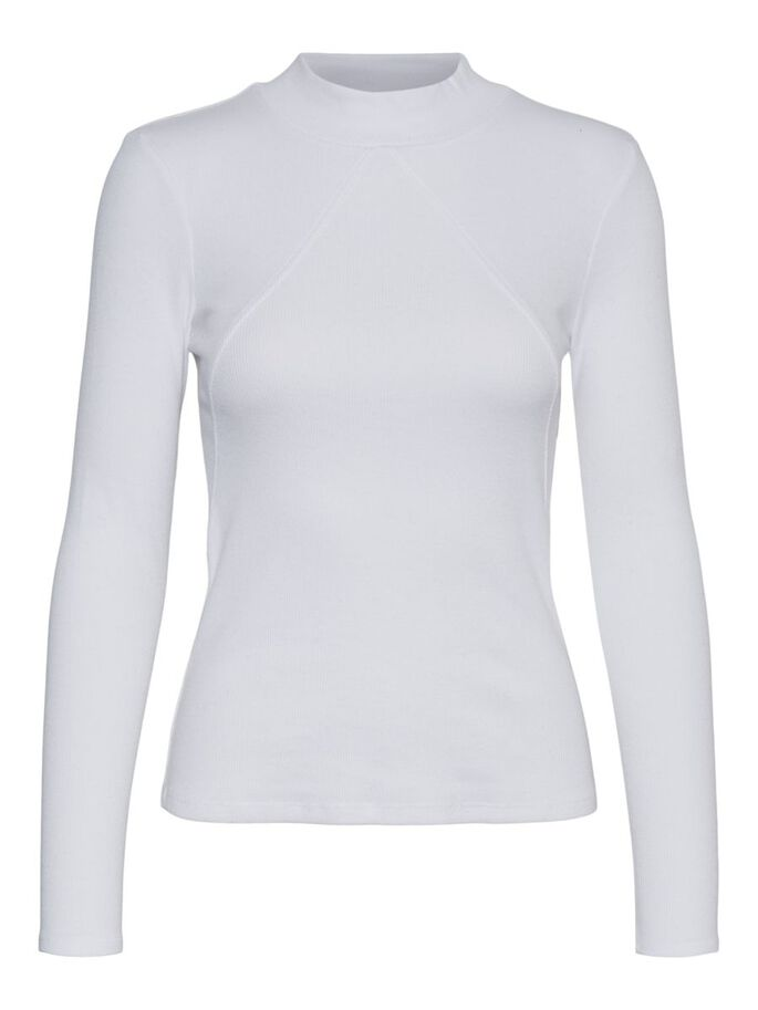 HIGH NECK LONG SLEEVED TOP, Snow White, large