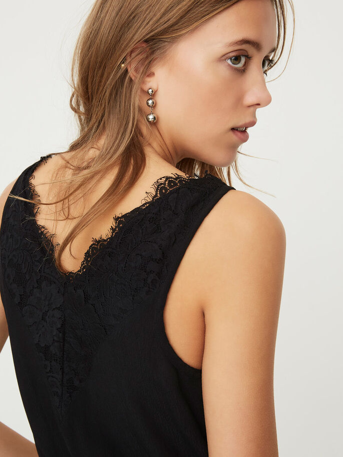 LACE SLEEVELESS TOP, Black, large