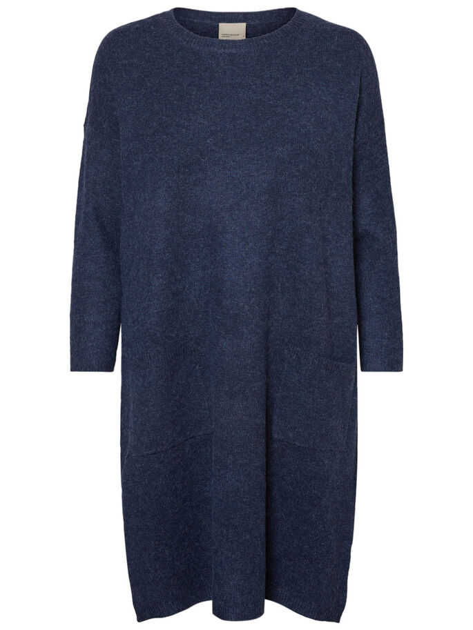 CASUAL KNITTED DRESS, Navy Blazer, large