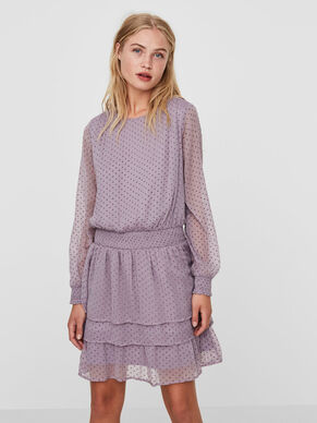 DOTTED LONG SLEEVED DRESS