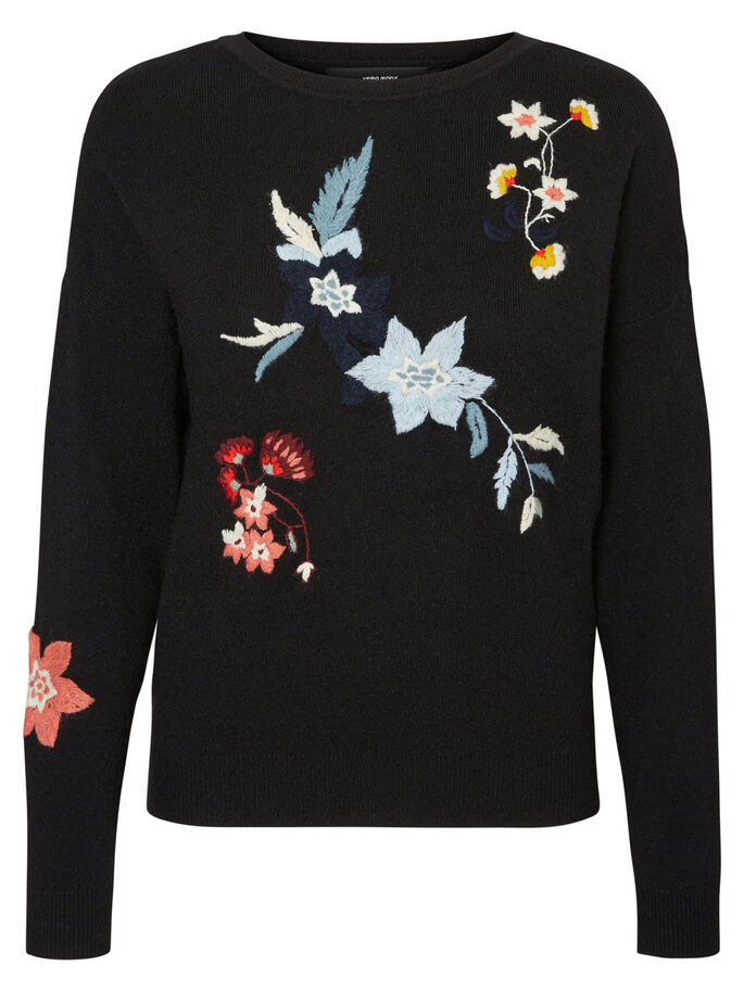 FLOWER KNITTED PULLOVER, Black Beauty, large