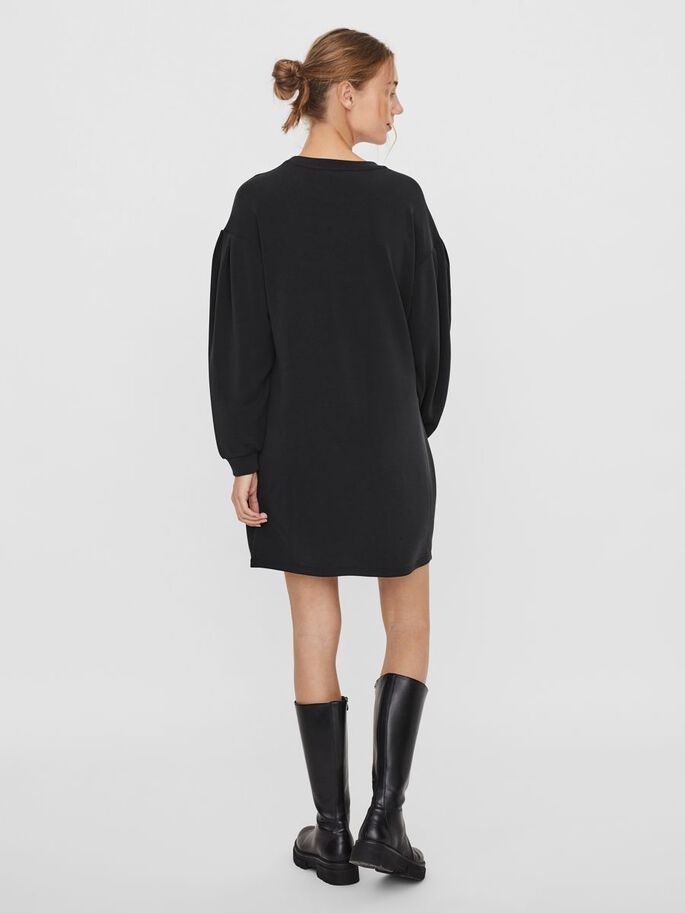 SWEAT MINI DRESS, Black, large