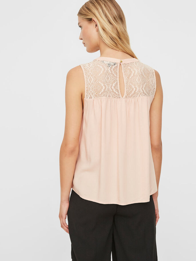 LACE SLEEVELESS TOP, Rose Cloud, large