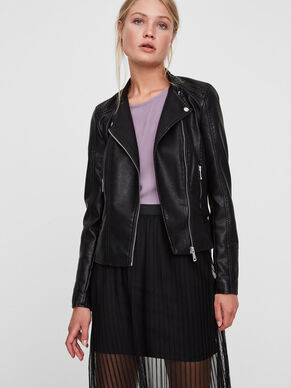 SHORT LEATHER-LOOK JACKET