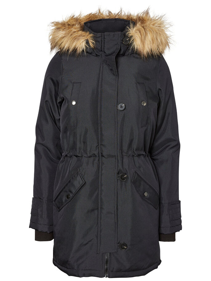 CASUAL PARKA COAT, Black Beauty, large