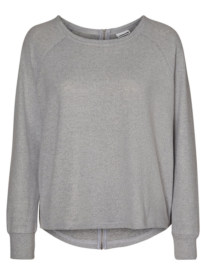 CASUAL TOP MET LANGE MOUWEN, Light Grey Melange, large