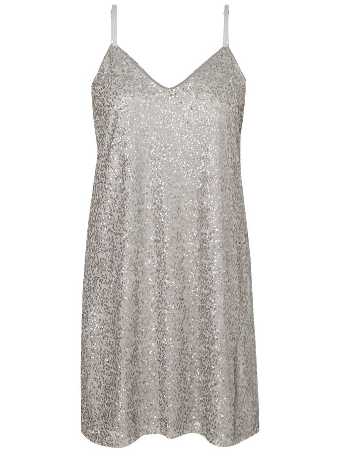 SLEEVELESS PARTY DRESS, Silver, large