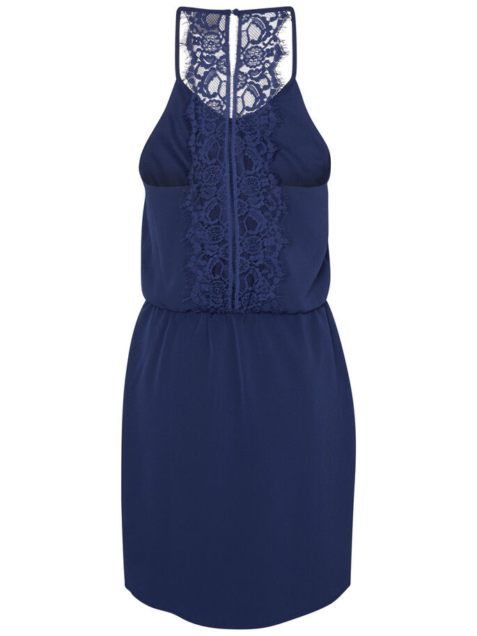 LACE SHORT DRESS, Medieval Blue, large
