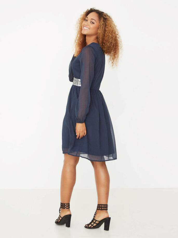 LONG SLEEVED SHORT DRESS, Total Eclipse, large