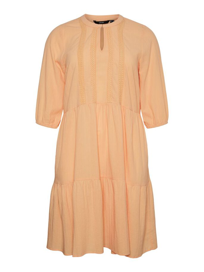 3/4 SLEEVED MIDI DRESS, Coral Sands, large