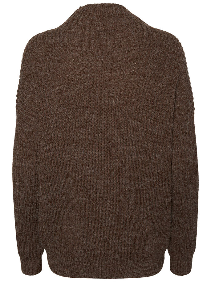CASUAL KNITTED PULLOVER, Black Coffee, large