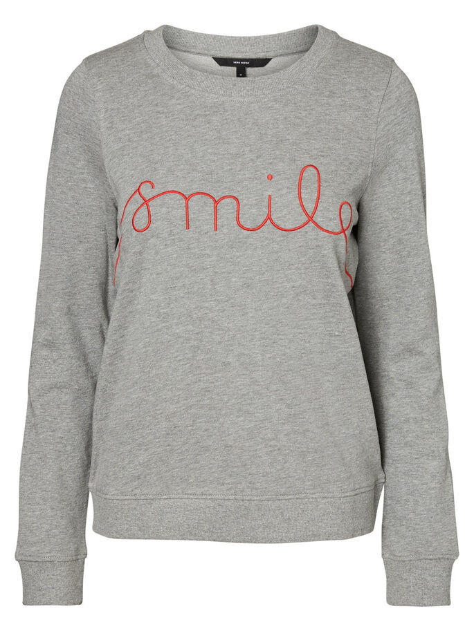 SMILE SWEATSHIRT, Light Grey Melange, large