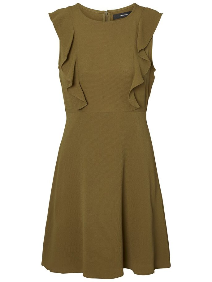 FRILL SLEEVELESS DRESS, Dark Olive, large