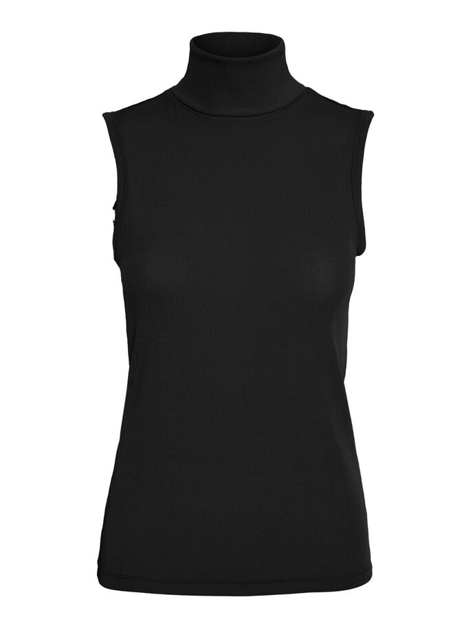 ROLLNECK SLEEVELESS TOP, Black, large