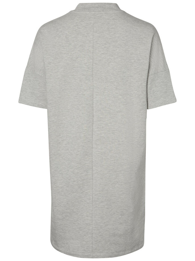 CASUAL SHORT SLEEVED DRESS, Light Grey Melange, large