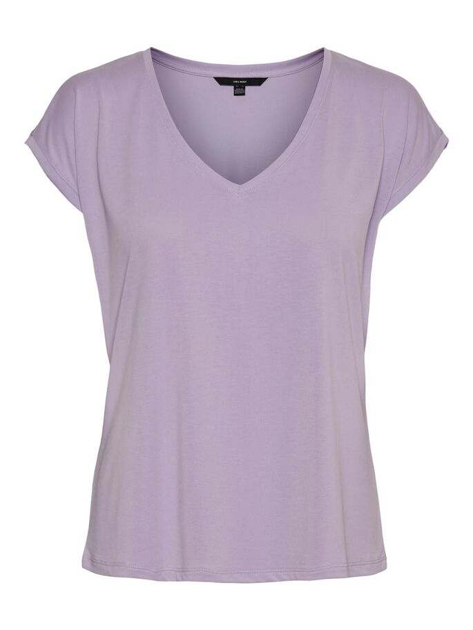 V-NECK SHORT SLEEVED TOP, Pastel Lilac, large