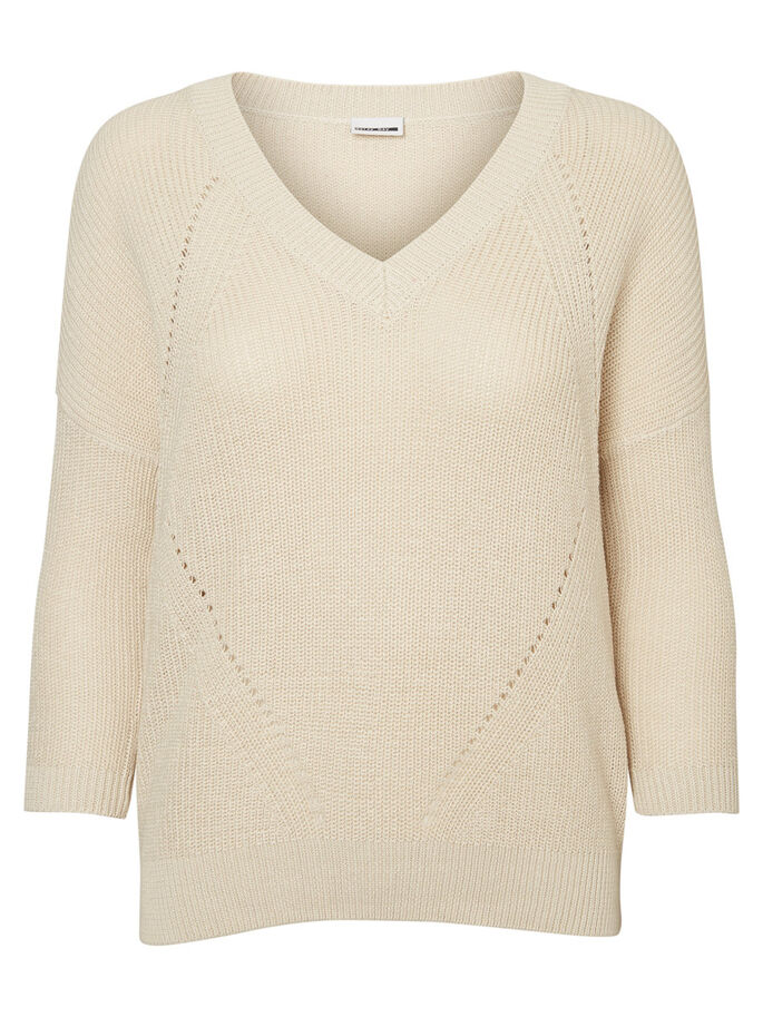 CASUAL KNITTED PULLOVER, Oatmeal, large