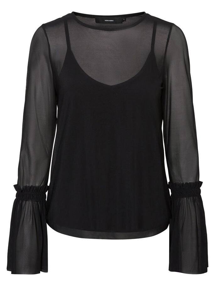 MESH LONG SLEEVED BLOUSE, Black, large