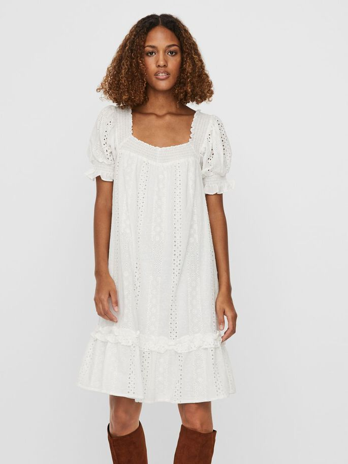 BRODERIE MIDI DRESS, Snow White, large