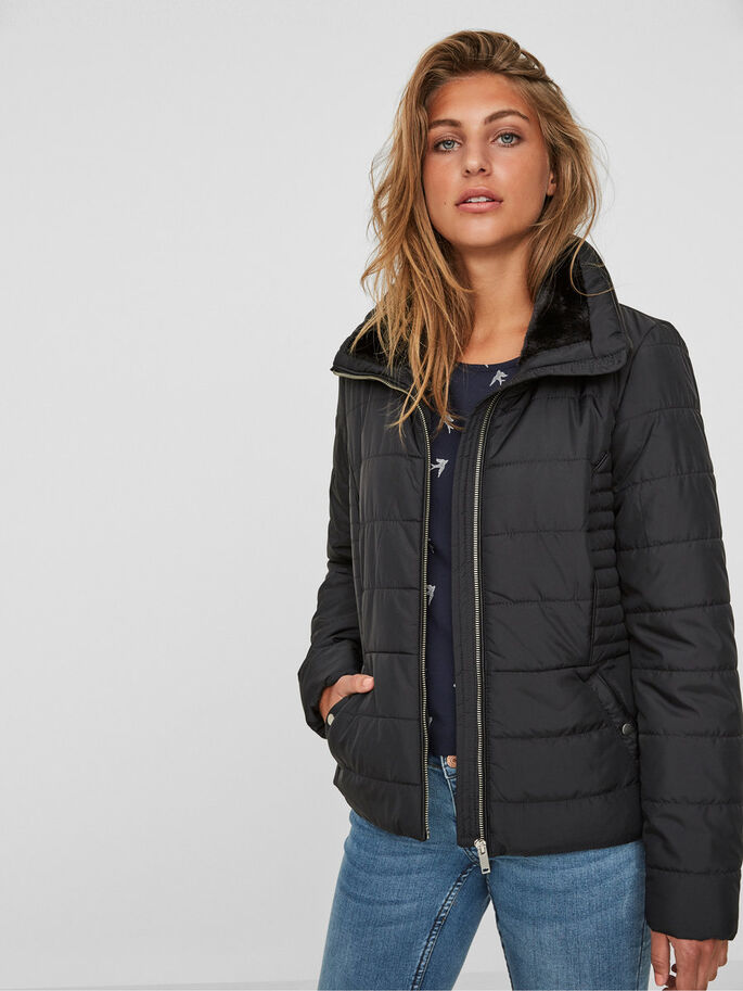SHORT PADDED JACKET, Black Beauty, large