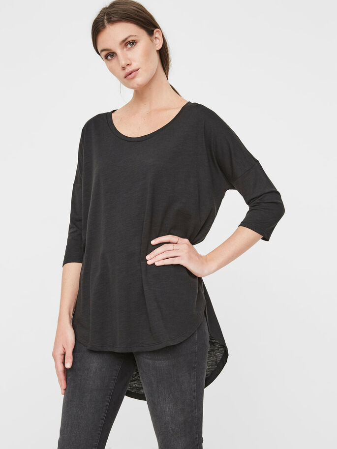 CASUAL 3/4 SLEEVED BLOUSE, Black, large