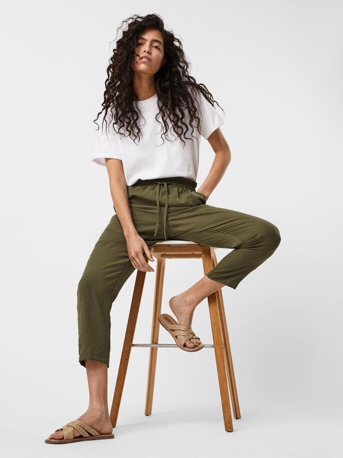 HIGH WAISTED TROUSERS, Ivy Green, large