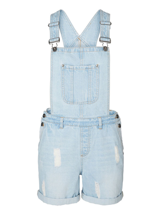 OVERALL DENIM SHORTS, Light Blue Denim, large