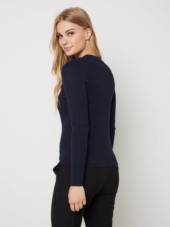 PLAIN O-NECK CARDIGAN, Black Iris, large
