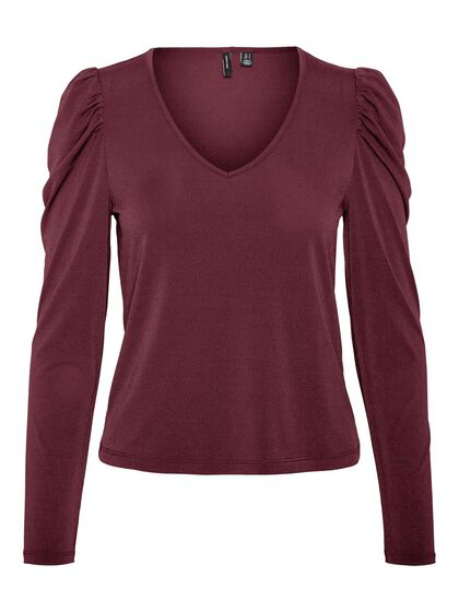 V-NECK PUFF LONG SLEEVED TOP