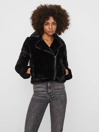 SHORT FAUX FUR BIKER JACKET