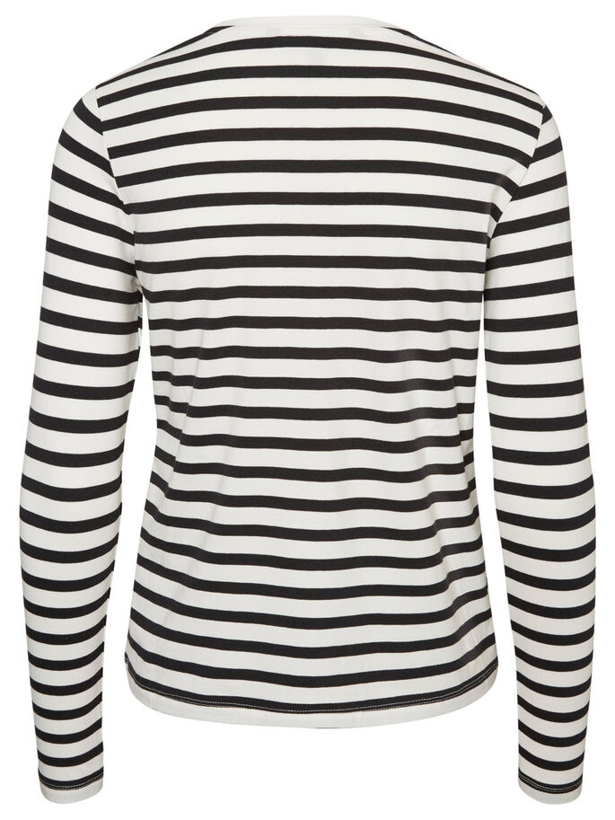 STRIPED LONG SLEEVED TOP, Black Beauty, large