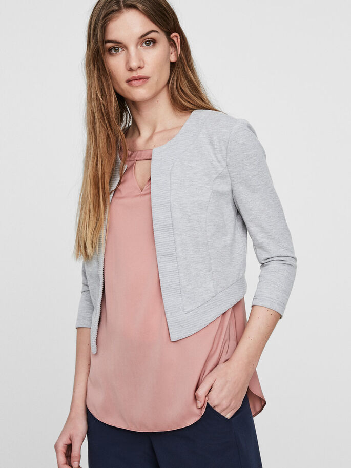 KORT BLAZER, Light Grey Melange, large