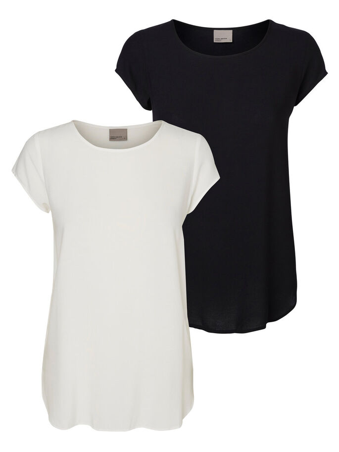 2-PACK SOFT SHORT SLEEVED TOP, Snow White, large