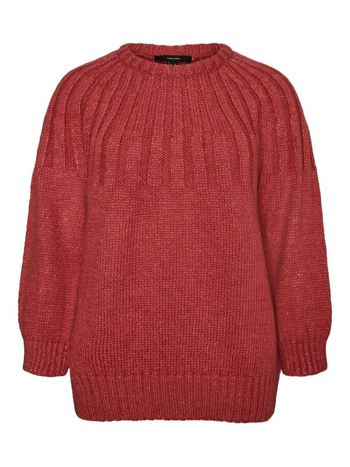 LONG SLEEVED KNITTED PULLOVER, Spiced Coral, large