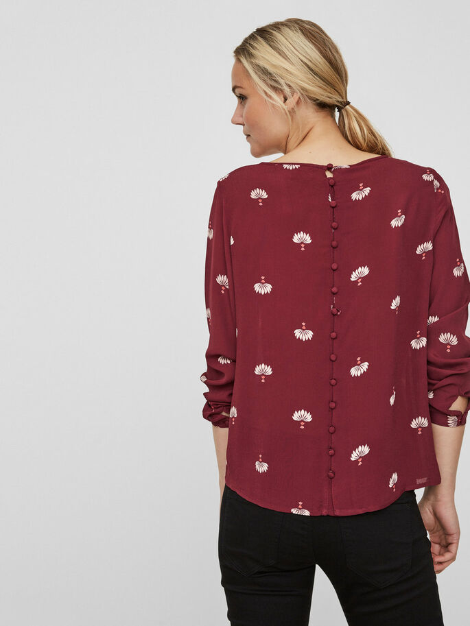 CASUAL LONG SLEEVED BLOUSE, Zinfandel, large