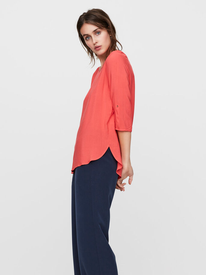 HIGH-LOW 3/4 SLEEVED BLOUSE, Hibiscus, large