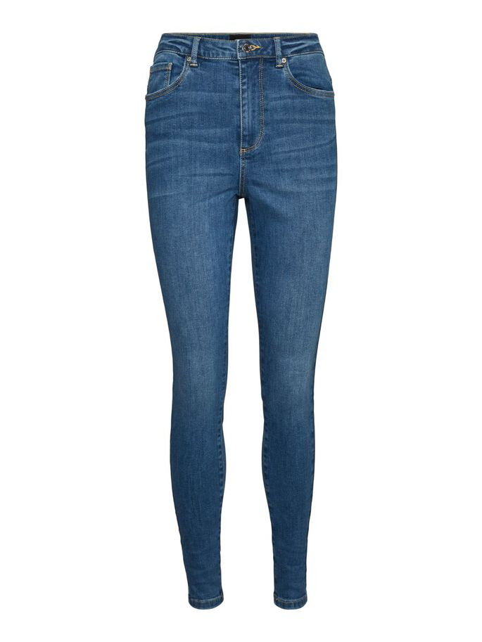 VMSOPHIA HIGH WAISTED SKINNY FIT JEANS, Medium Blue Denim, large