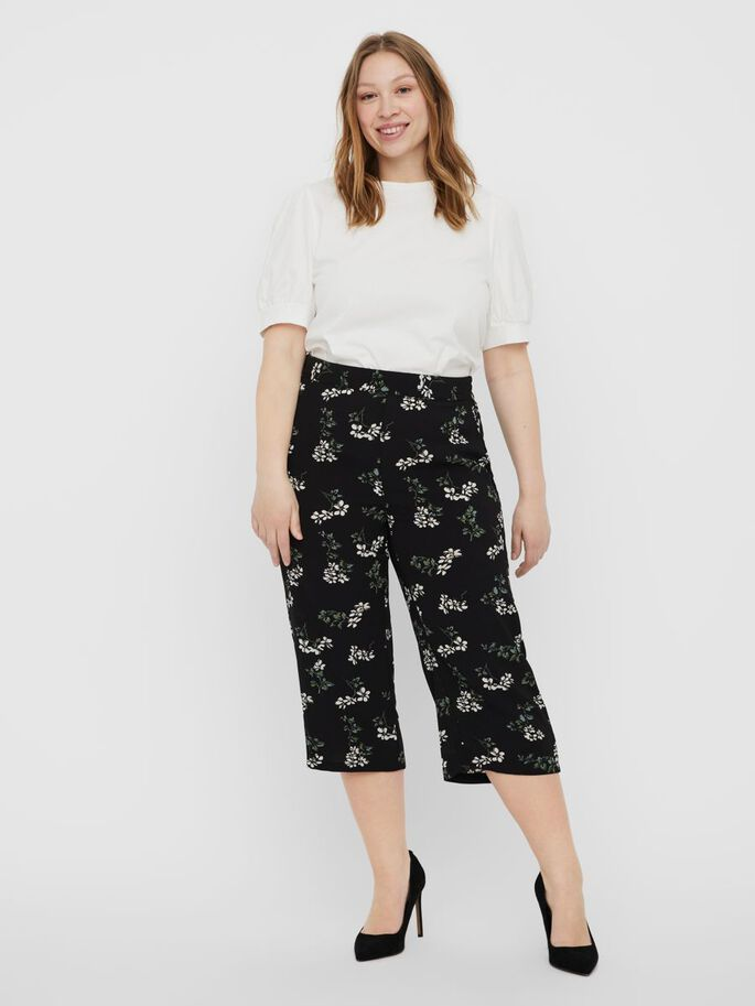 HIGH WAISTED CULOTTE TROUSERS, Black, large