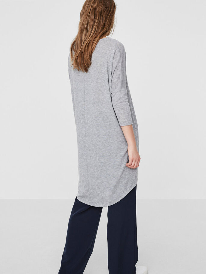 LANG BLUSE MED 3/4-ÆRMER, Light Grey Melange, large