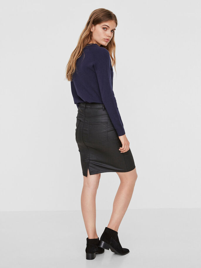 COATED PENCIL SKIRT, Black, large