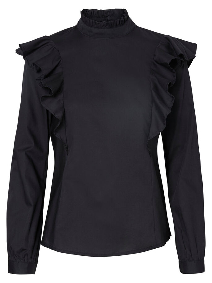 FRILL LONG SLEEVED TOP, Black Beauty, large