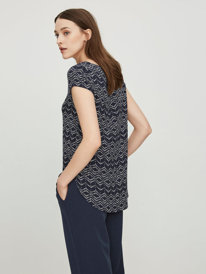 PRINTED SHORT SLEEVED TOP, Navy Blazer, large